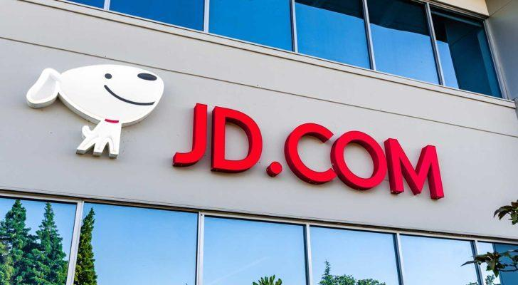 JD.com (JD) logo displayed at the entrance to the company's Silicon Valley office.