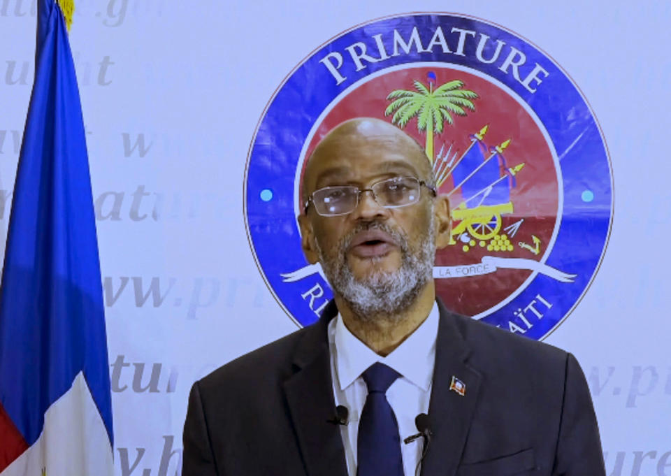 In this photo taken from video, Ariel Henry, Prime Minister of Haiti, remotely addresses the 76th session of the United Nations General Assembly in a pre-recorded message, Saturday Sept. 25, 2021 at UN headquarters. (UN Web TV via AP)