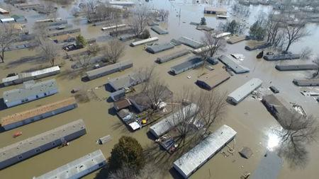 Buildings submerged in floodwaters in Bellevue, Nebraska, March 20, 2019. Bellevue (Nebraska) Police Department via REUTERS