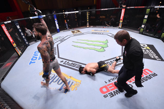 Cody Garbrandt celebrates after his knockout victory over Raphael Assuncao of Brazil in their bantamweight bout during the UFC 250 event at UFC APEX on June 06, 2020 in Las Vegas, Nevada. (Jeff Bottari/Zuffa LLC)