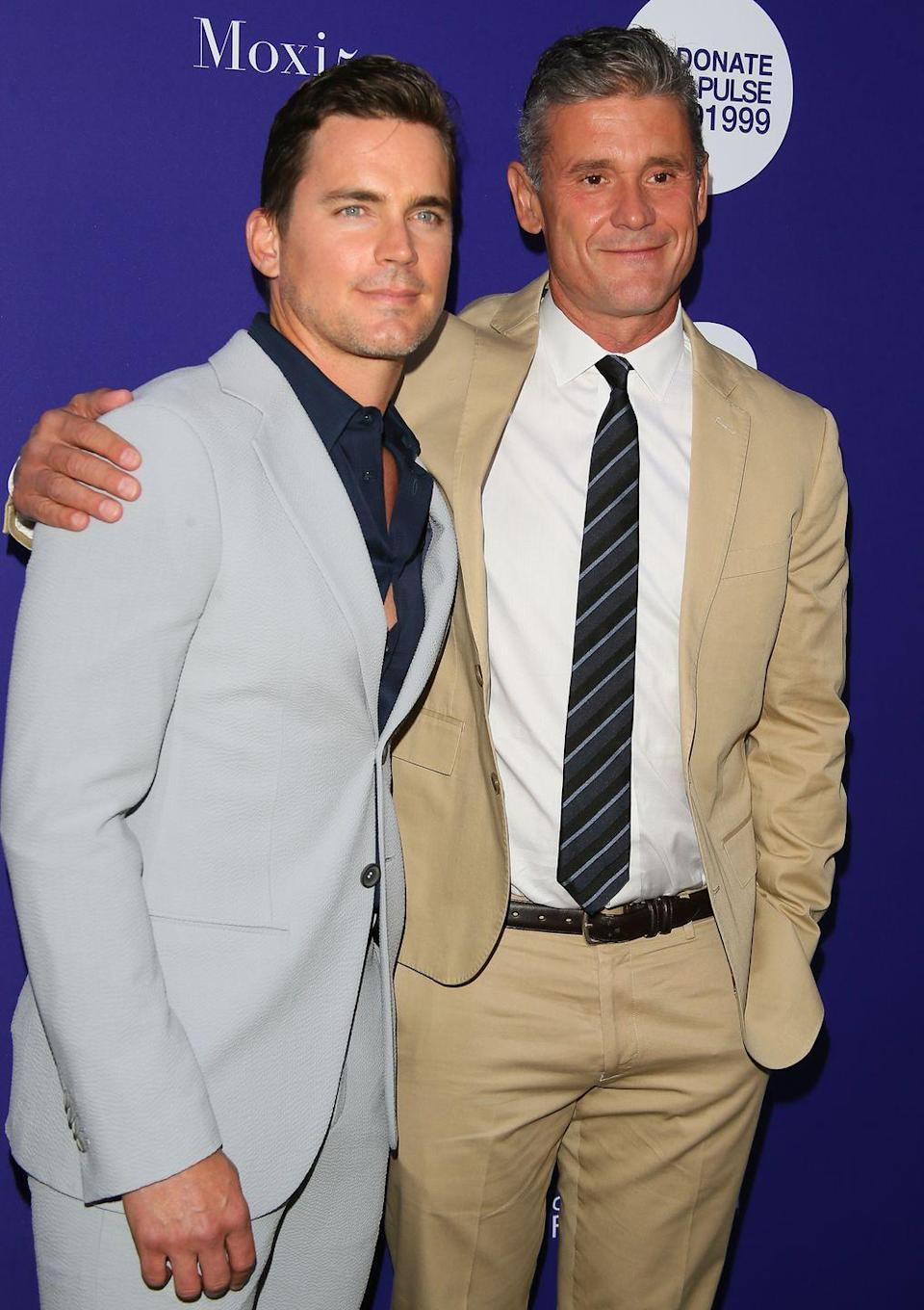 """<p><strong>Age gap: </strong>13 years</p><p>Matt wed his publicist, Simon, in 2011. Now the two share three sons together. When asked about his secret to a happy marriage, Matt told <a href=""""https://www.etonline.com/matt-bomer-shares-the-secrets-behind-his-long-lasting-marriage-exclusive-98814"""" rel=""""nofollow noopener"""" target=""""_blank"""" data-ylk=""""slk:Entertainment Tonight"""" class=""""link rapid-noclick-resp""""><em>Entertainment Tonight</em></a> that the couple tries to take everything """"one day at a time.""""</p>"""
