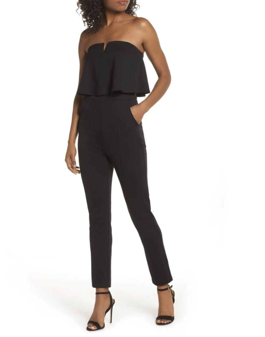 <p>You'll feel like a bombshell in this <span>Fraiche by J Strapless Ruffle Jumpsuit</span> ($99).</p>