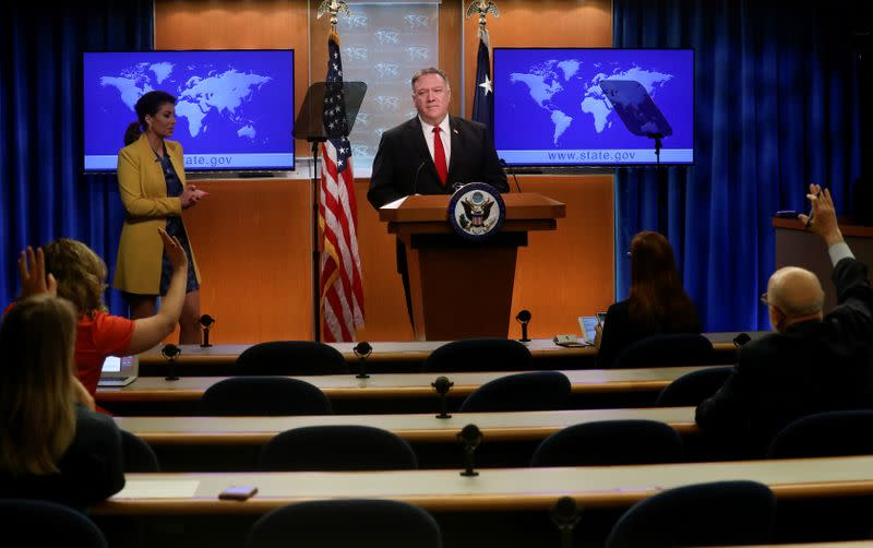 U.S. Secretary of State Pompeo holds news conference at the State Department in Washington