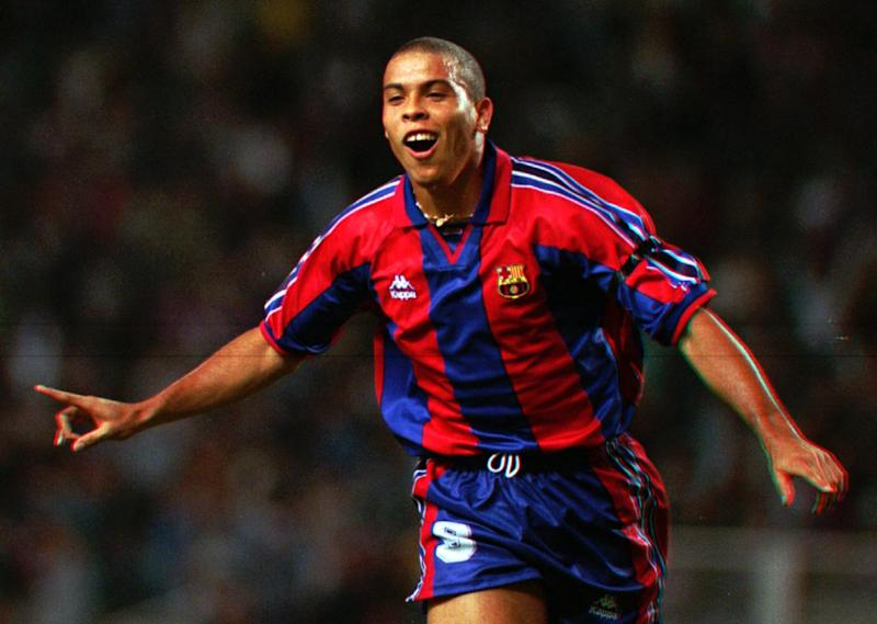 F.C. Barcelona's Brazilian striker Luis Ronaldo celebrates after scoring a goal during a Cup Winner's Cup 1st. round 1st leg soccer match against AEK Larnica of Cyprus Thursday Sept. 12, 1996. (AP Photo/Denis Doyle)