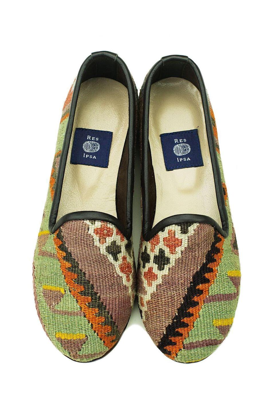 "<p><strong>Res Ipsa</strong></p><p>resipsausa.com</p><p><strong>$225.00</strong></p><p><a href=""https://resipsausa.com/collections/womens-kilim-loafers/products/womens-kilim-loafer-6-18"" rel=""nofollow noopener"" target=""_blank"" data-ylk=""slk:SHOP IT"" class=""link rapid-noclick-resp"">SHOP IT</a></p><p>These one-of-a-kind loafers assembled from Turkish rugs somehow seem to go with everything and guarantee you a look that no one else can cop.</p>"