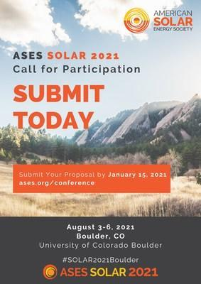 Submit to the Call for Participation for SOLAR 2021: Empowering a Sustainable Future by January 15, 2021. The 50th Annual National Solar Conference will be in Boulder, CO at the University of Colorado, Boulder August 3-6, 2021. Submit now at ases.org/conference. Interested in sponsoring or partnering on the event? Email conference@ases.org. #SOLAR2021Boulder