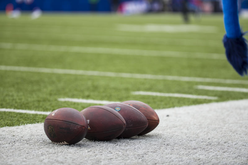 ORCHARD PARK, NY - NOVEMBER 25: Wilson NFL footballs rest on the sideline before the game between the Buffalo Bills and the Jacksonville Jaguars at New Era Field on November 25, 2018 in Orchard Park, New York. Buffalo defeats Jacksonville 24-21. (Photo by Brett Carlsen/Getty Images) *** Local Caption ***