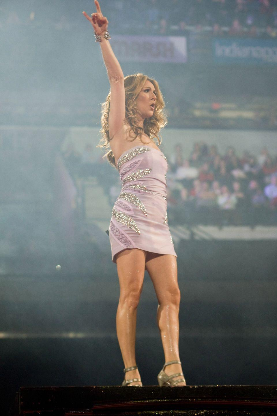 <p>Another iconic minidress moment from the megastar. This time, Dion chose a strapless lavender number with sparkly accents and strappy gold heels. </p>