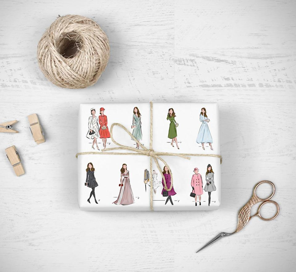 """<p>If you want to see a glimpse of Kate Middleton under your Christmas tree this year, then snap up some of this stylish wrapping paper designed by artist Jennifer Vallez. Depicting some of Kate's iconic looks, there's a chic appearance by the Queen, who is pretty in pink.</p> <p><strong>Buy it! Jennifer Vallez Illustration Royal Wrapping Sheets, $18; <a href=""""https://sophieandlili.bigcartel.com/product/royal-family-wrapping-sheets"""" rel=""""nofollow noopener"""" target=""""_blank"""" data-ylk=""""slk:sophieandlili.bigcartel.com"""" class=""""link rapid-noclick-resp"""">sophieandlili.bigcartel.com</a></strong></p>"""