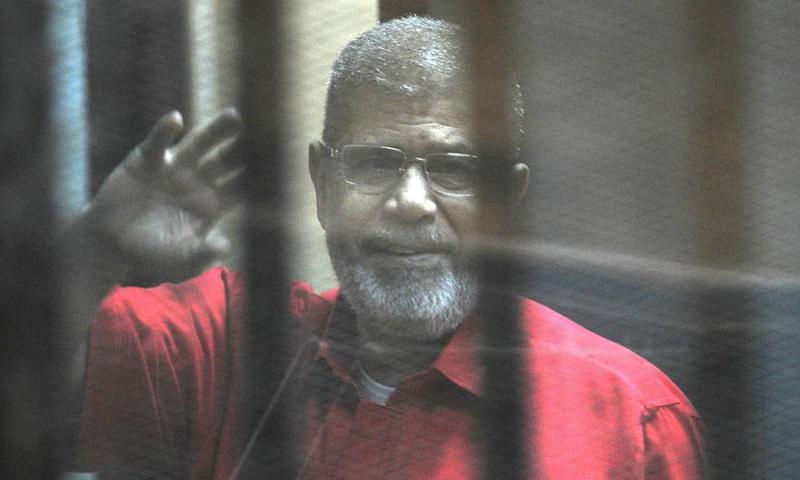 Mohamed Morsi during his trial in Cairo, Egypt, in 2015.