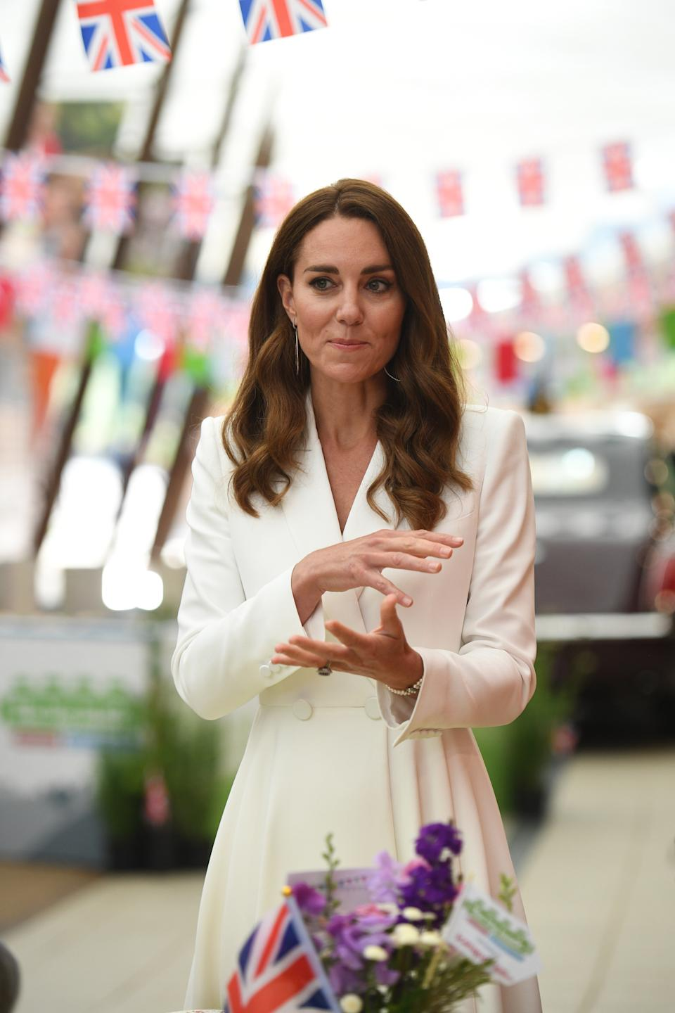 The Duchess of Cambridge accessorised with a three-strand pearl bracelet. (Getty Images)