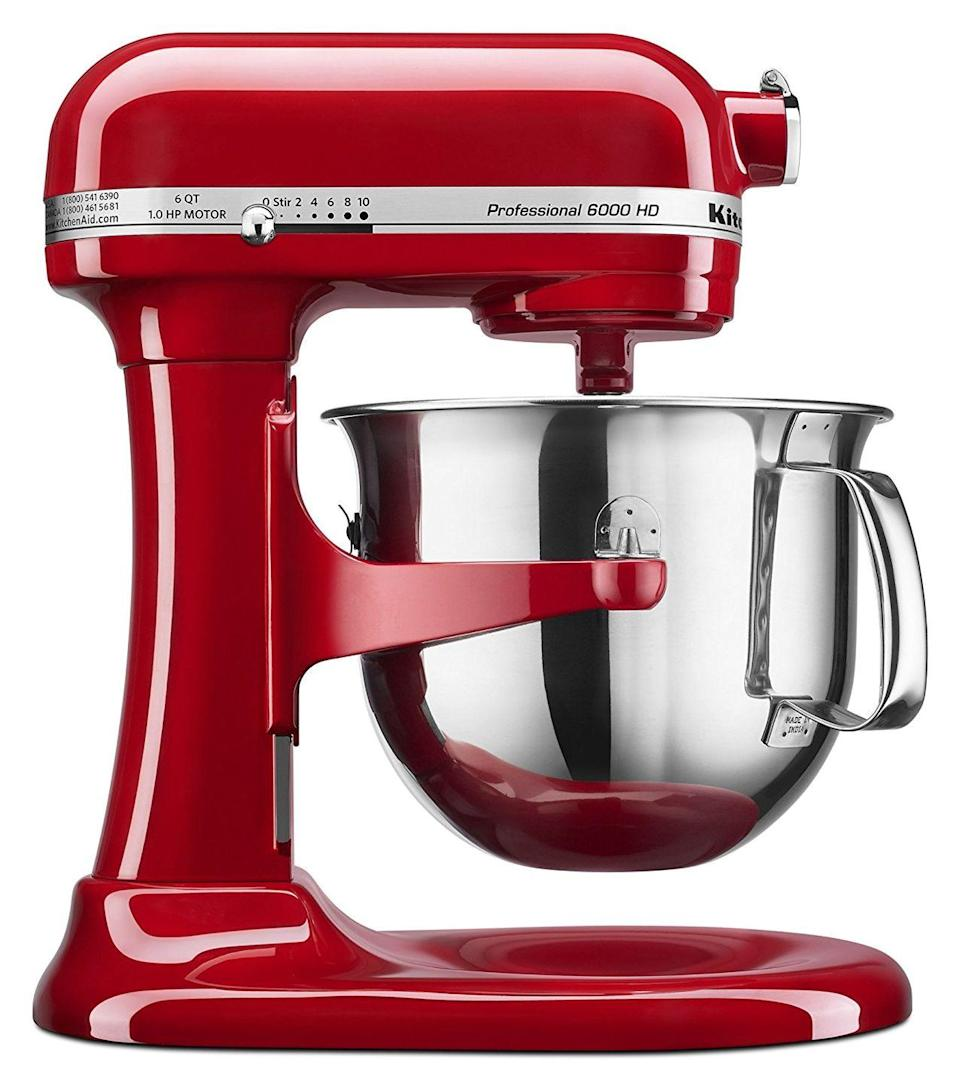 """<p>Really, how else are you supposed to mix cookie dough for your 2.5 kids' bake sales in three to five years?</p><p><strong><em>BUY IT NOW: KitchenAid 6-Quart Professional Stand Mixer, $314; </em></strong><a href=""""https://www.amazon.com/dp/B00PZU3AEI/ref=asc_df_B00PZU3AEI5197192/?tag=syn-yahoo-20&creative=394997&creativeASIN=B00PZU3AEI&linkCode=df0&hvadid=167141308073&hvpos=1o1&hvnetw=g&hvrand=16401087219662391872&hvdev=c&hvlocphy=9073477&hvtargid=pla-304865475786&ascsubtag=%5Bartid%7C10063.g.35536497%5Bsrc%7Cyahoo-us"""" rel=""""nofollow noopener"""" target=""""_blank"""" data-ylk=""""slk:Amazon.com"""" class=""""link rapid-noclick-resp""""><strong><em>Amazon.com</em></strong></a></p>"""