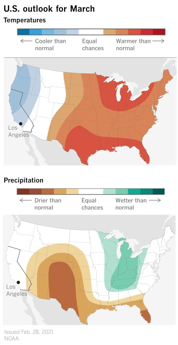 Two maps show cooler than normal temperatures for the West and drier than normal precipitation for the Southwest