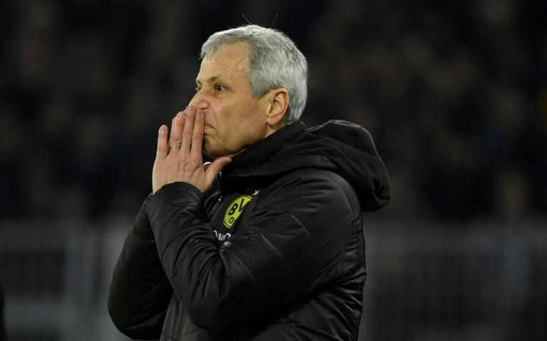 Borussia Dortmund's Swiss coach Lucien Favre is under pressure after his side were 3-0 down to bottom side Paderborn on Friday before drawing 3-3 at home