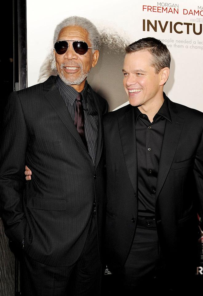 "<a href=""http://movies.yahoo.com/movie/contributor/1800020214"">Morgan Freeman</a> and <a href=""http://movies.yahoo.com/movie/contributor/1800020155"">Matt Damon</a> at the Los Angeles premiere of <a href=""http://movies.yahoo.com/movie/1810073710/info"">Invictus</a> - 12/03/2009"