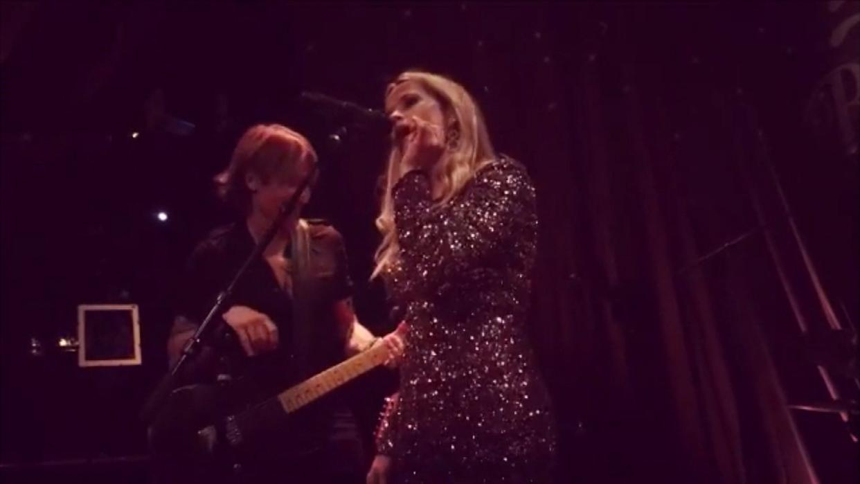 Reese Witherspoon Sings with Keith Urban As Back Up For Birthday Bash