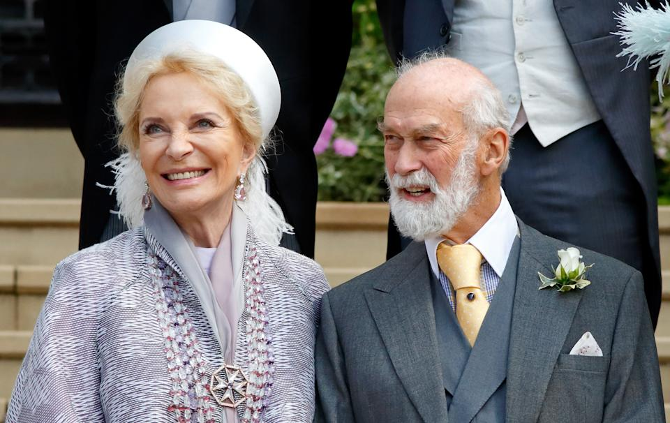 WINDSOR, UNITED KINGDOM - MAY 18: (EMBARGOED FOR PUBLICATION IN UK NEWSPAPERS UNTIL 24 HOURS AFTER CREATE DATE AND TIME) Princess Michael of Kent and Prince Michael of Kent attend the wedding of Lady Gabriella Windsor and Thomas Kingston at St George's Chapel on May 18, 2019 in Windsor, England. (Photo by Pool/Max Mumby/Getty Images)