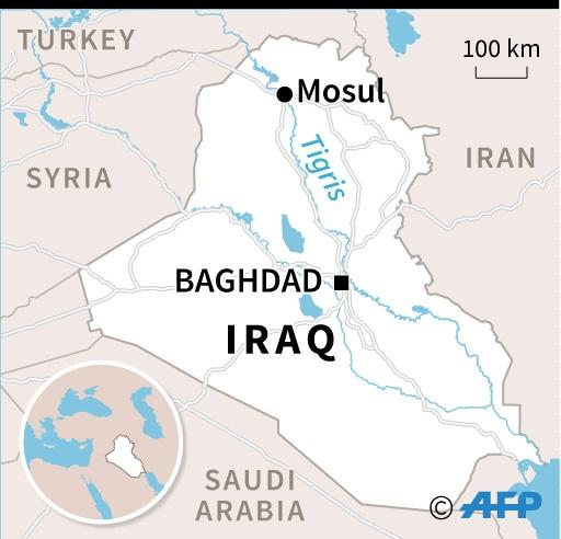 Map of Iraq locating Mosul, where an overcrowded ferry carrying families sank. (AFP Photo/)