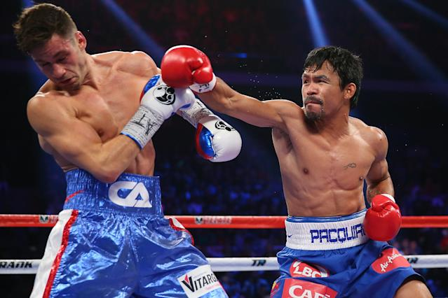 Manny Pacquiao knocks down Chris Algieri six times in lopsided decision win
