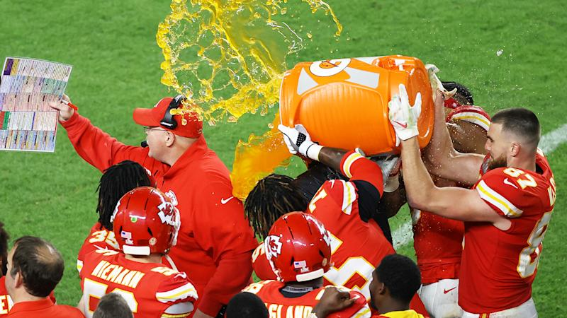 Andy Reid, pictured here getting the gatorade shower after the Super Bowl.