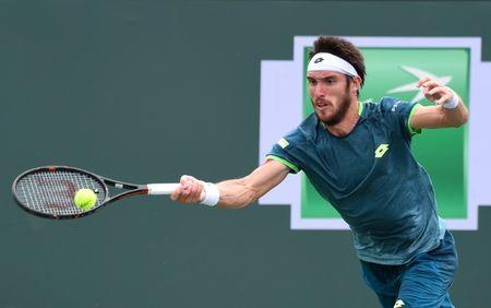 Mar 13, 2018; Indian Wells, CA, USA;  Leonardo Mayer (ARG) during his third round match against Taro Daniel (not pictured) in the BNP Paribas Open at the Indian Wells Tennis Garden. Jayne Kamin-Oncea-USA TODAY Sports
