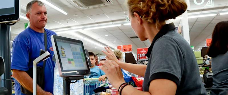 Nea Moudania, Greece, August 09, 2018: Interior of a Lidl supermarket, with cashier