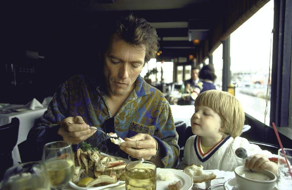 <p>Eastwood with his three-year-old son, Kyle, at Fisherman's Wharf in San Francisco. </p>