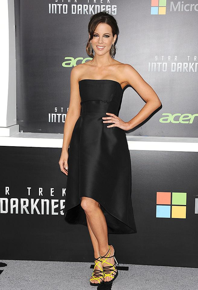 "HOLLYWOOD, CA - MAY 14:  Actress Kate Beckinsale attends the premiere of ""Star Trek Into Darkness"" at Dolby Theatre on May 14, 2013 in Hollywood, California.  (Photo by Jason LaVeris/FilmMagic)"