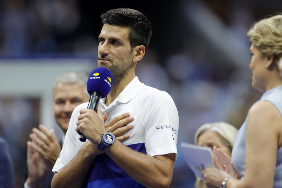 Novak Djokovic (pictured) speaks to the crowd after losing the US Open final.