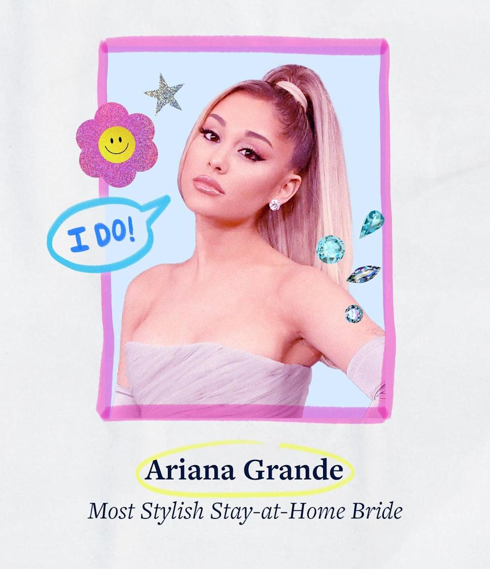 """<p><a class=""""link rapid-noclick-resp"""" href=""""https://www.popsugar.co.uk/Ariana-Grande"""" rel=""""nofollow noopener"""" target=""""_blank"""" data-ylk=""""slk:Ariana Grande"""">Ariana Grande</a> stood by <a href=""""https://www.popsugar.com/fashion/ariana-grande-wedding-dress-48343341"""" class=""""link rapid-noclick-resp"""" rel=""""nofollow noopener"""" target=""""_blank"""" data-ylk=""""slk:her dream wedding dress"""">her dream wedding dress</a>, which was inspired by Audrey Hepburn's iconic <strong>Funny Face</strong> character, Jo Stockton, from the get-go. She tapped Vera Wang for the job - a collaboration that had reportedly been in the works since the 2018 Met Gala - and went all out with her bridal look, even if she did tie the knot at home.</p>"""