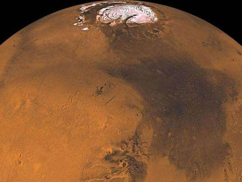 Mars as seen by the Viking orbiter, one of Nasa's most successful Mars missions: Nasa