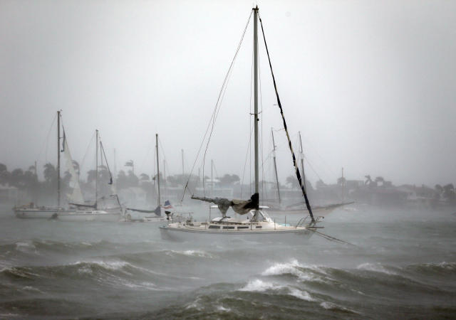 <p><strong>Miami Beach</strong><br>Sailboats moored near Watson Island ride out the winds and waves as Hurricane Irma passes by, Sept. 10, 2017, in Miami Beach, Fla. (Photo:Wilfredo Lee/AP) </p>