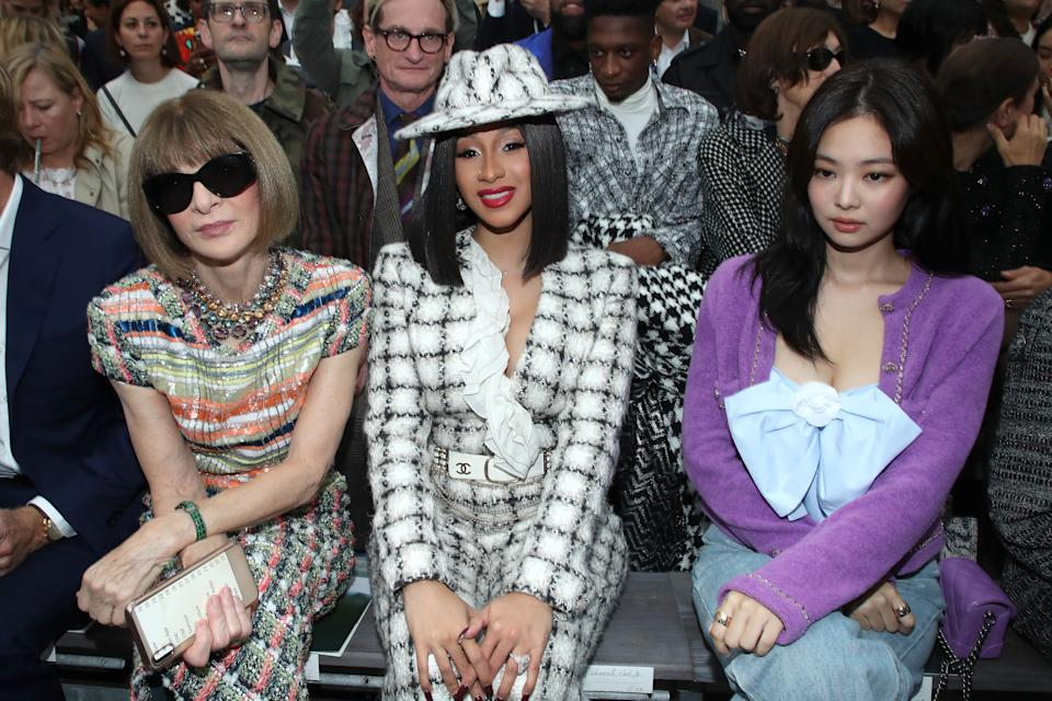 PARIS, FRANCE - OCTOBER 01: (L-R) Anna Wintour, Cardi B and Jennie Kim attend the Chanel Womenswear Spring/Summer 2020 show as part of Paris Fashion Week on October 01, 2019 in Paris, France. (Photo by Rindoff/Charriau/Getty Images)