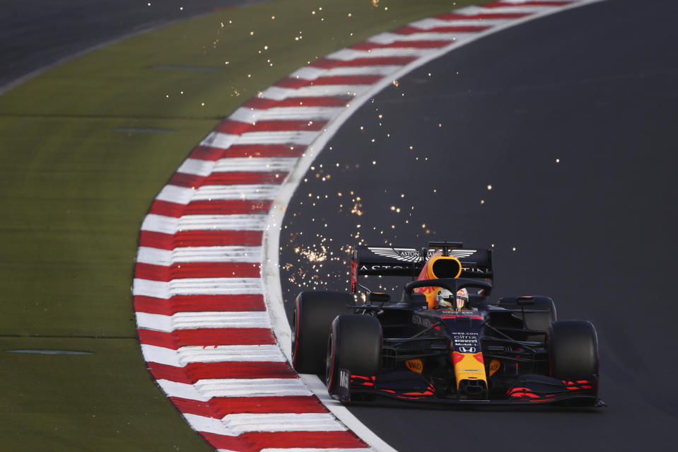 Red Bull driver Max Verstappen of the Netherlands steers his car during qualification for the Eifel Formula One Grand Prix at the Nuerburgring racetrack in Nuerburg, Germany, Saturday, Oct. 10, 2020. The Germany F1 Grand Prix will be held on Sunday. (Bryn Lennon, Pool via AP)