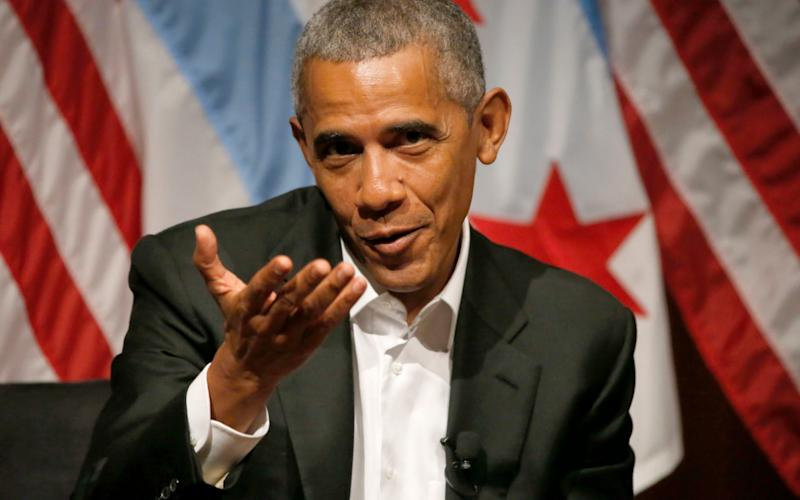 Barack Obama makes his first speech since stepping down as president in Chicago - Copyright 2017 The Associated Press. All rights reserved.