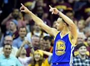 Jun 16, 2015; Cleveland, OH, USA; Golden State Warriors guard Stephen Curry (30) reacts in the closing seconds of game six of the NBA Finals against the Cleveland Cavaliers at Quicken Loans Arena. Mandatory Credit: Bob Donnan-USA TODAY Sports