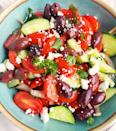 <p>This Greek-inspired tomato salad is packed with fresh veggies and flavor-boosting ingredients, like balsamic vinegar, Kalamata olives and crumbled feta cheese. This delicious salad takes just 15 minutes to make and while you could eat it right away, it tastes even better the longer it sits, so plan to leave at least an hour of marinating time before serving.</p>