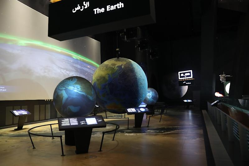 Models on astronomy and galaxies inside the Clock Tower Museum in the Saudi holy city of Mecca (AFP Photo/Bandar ALDANDANI)