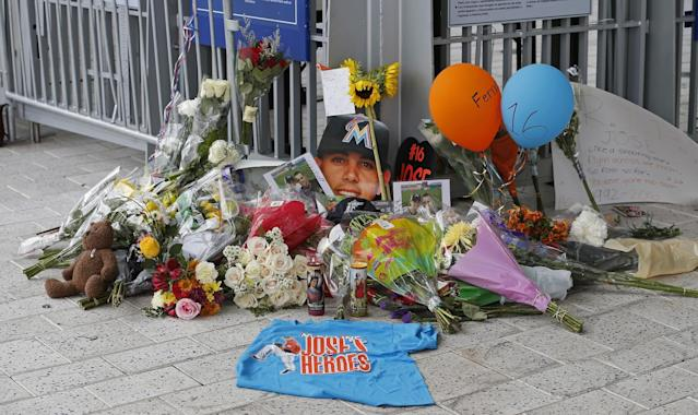 A memorial outside the gate of Marlins Park for Jose Fernandez. (Getty Images)