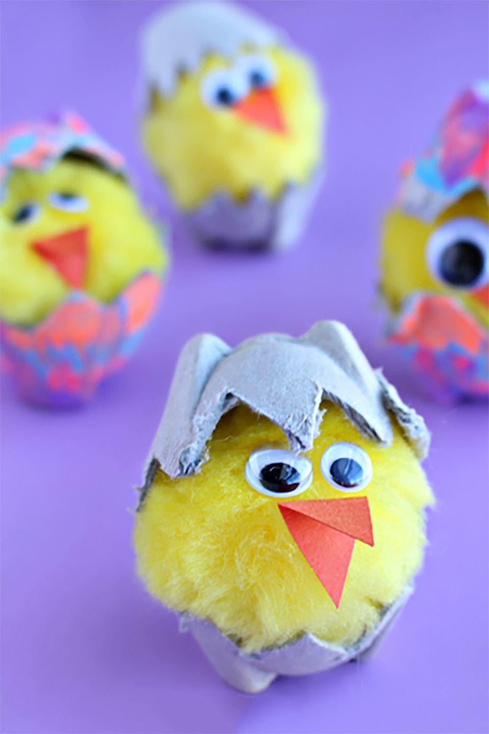 """<p>Paint egg cartons to make it look like the chicks are hatching from Easter eggs.</p><p><strong>Get the tutorial at <a href=""""http://www.craftymorning.com/egg-carton-hatching-chicks-kids-craft/"""" rel=""""nofollow noopener"""" target=""""_blank"""" data-ylk=""""slk:Crafty Morning"""" class=""""link rapid-noclick-resp"""">Crafty Morning</a>. </strong></p>"""