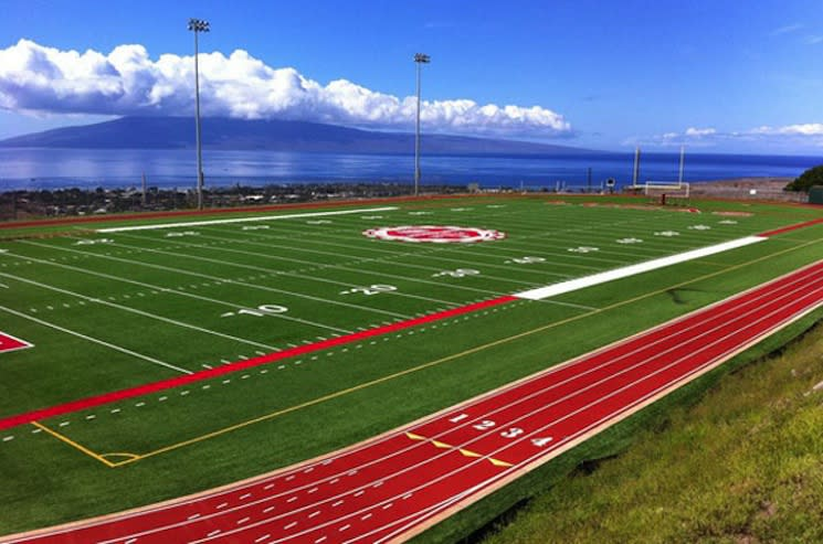 Lahainaluna's picturesque football field. Yes, high schoolers play here — Lahainaluna High