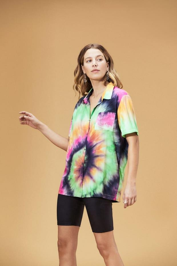 bf21896d8 The Tie-Dye Button-Down to Help Maria Channel 'Vacation Dad' This Summer
