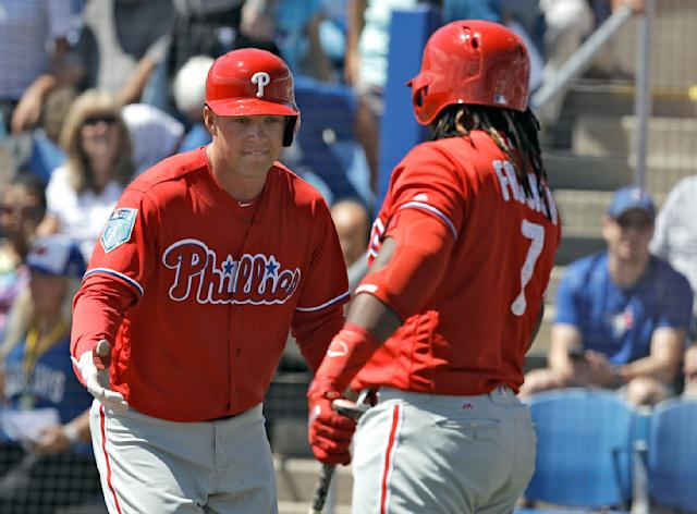 "<a class=""link rapid-noclick-resp"" href=""/mlb/players/10556/"" data-ylk=""slk:Rhys Hoskins"">Rhys Hoskins</a> is ready to lead a young Phillies team on a playoff run (AP Photo)."