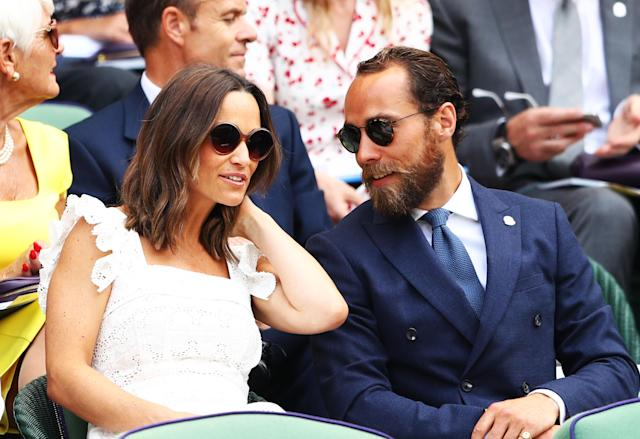 Pippa and James Middleton, the Duchess of Cambridge's siblings, hit up Wimbledon Thursday. (Photo: Michael Steele/Getty Images)