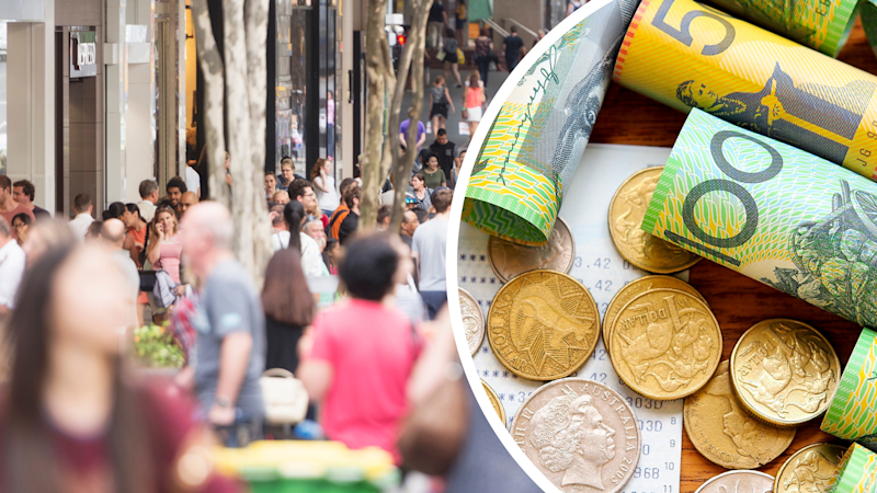 Pictured: Australians walking down a street and money received after a tax return. Images: Getty