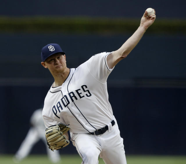 San Diego Padres starting pitcher Eric Lauer delivers during the first inning of a baseball game against the Oakland Athletics in San Diego, Tuesday, June 19, 2018. (AP Photo/Alex Gallardo)