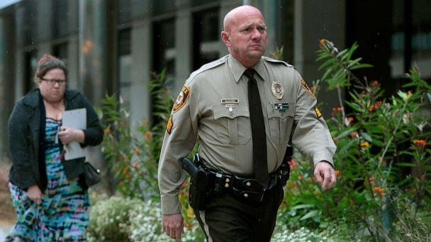 PHOTO: St. Louis County police Sgt. Keith Wildhaber returns from lunch break to the St. Louis County courthouse on the third day of his discrimination case against the county in Clayton, Mo., Oct. 24, 2019. (St. Louis Post-Dispatch via AP, FILE)