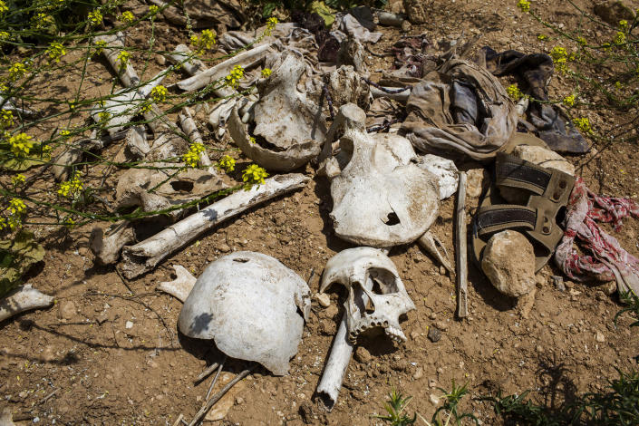 <p>Dug-up bones are seen on the outskirts Sinjar in Iraq on April 7, 2016. On December 2015, almost 34 mass graves were discovered in the devastated area after Sinjar was liberated from ISIS. Yazidis, forced to gather outside the city, deceived and under threat, were massacred in the name of religion. (Photograph by Diego Ibarra Sanchez / MeMo) </p>