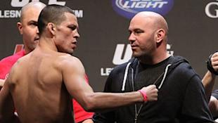 Nate Diaz [L] and Dana White [R] don't see eye-to-eye these days.