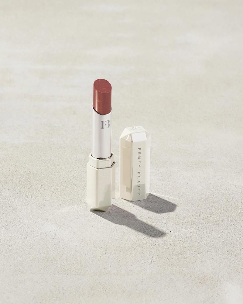 Slip Shine Sheer Shiny Lipstick in Cookies & Cocoa. Image via Fenty Beauty.